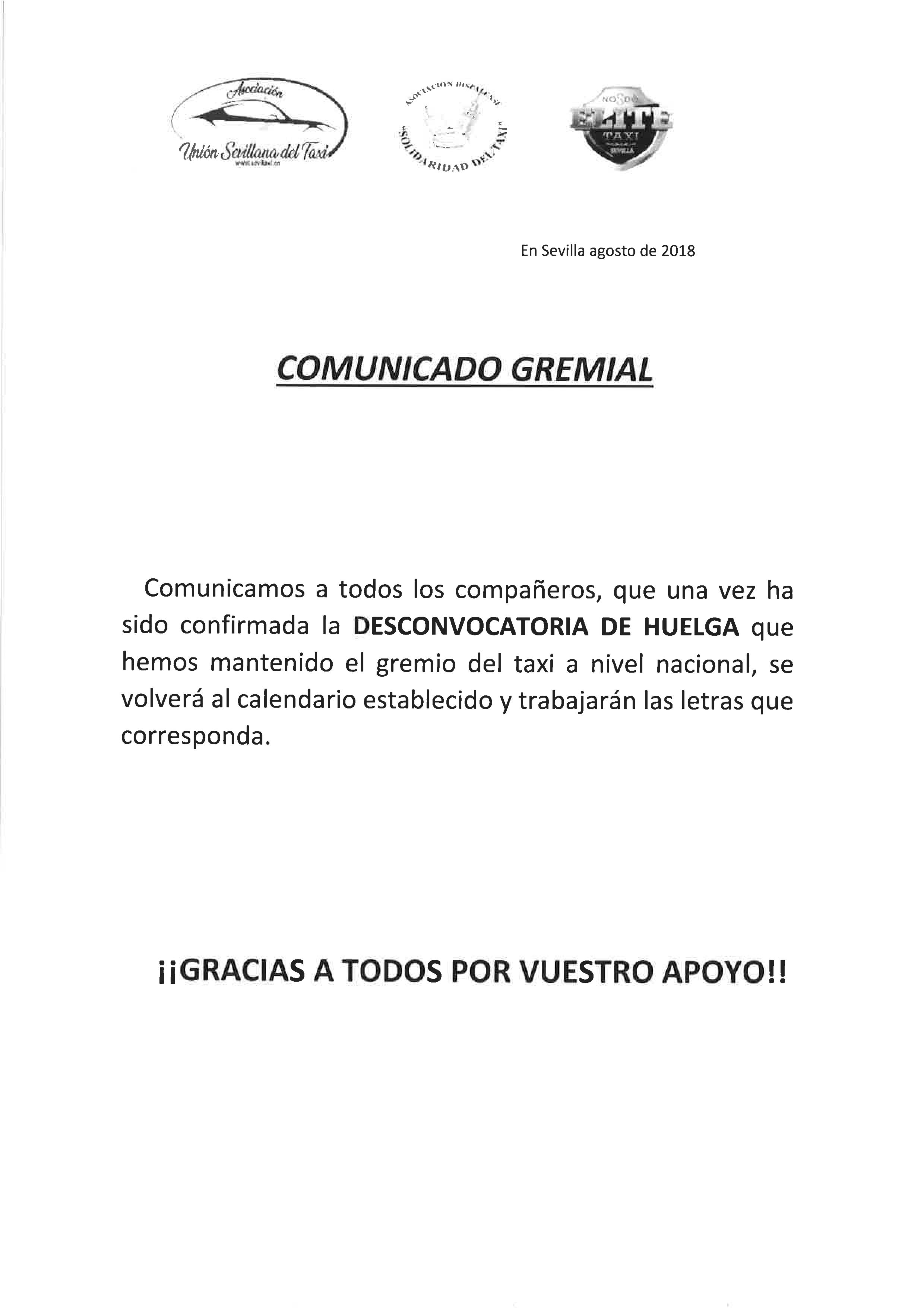 DESCONVOCATORIA HUELGA